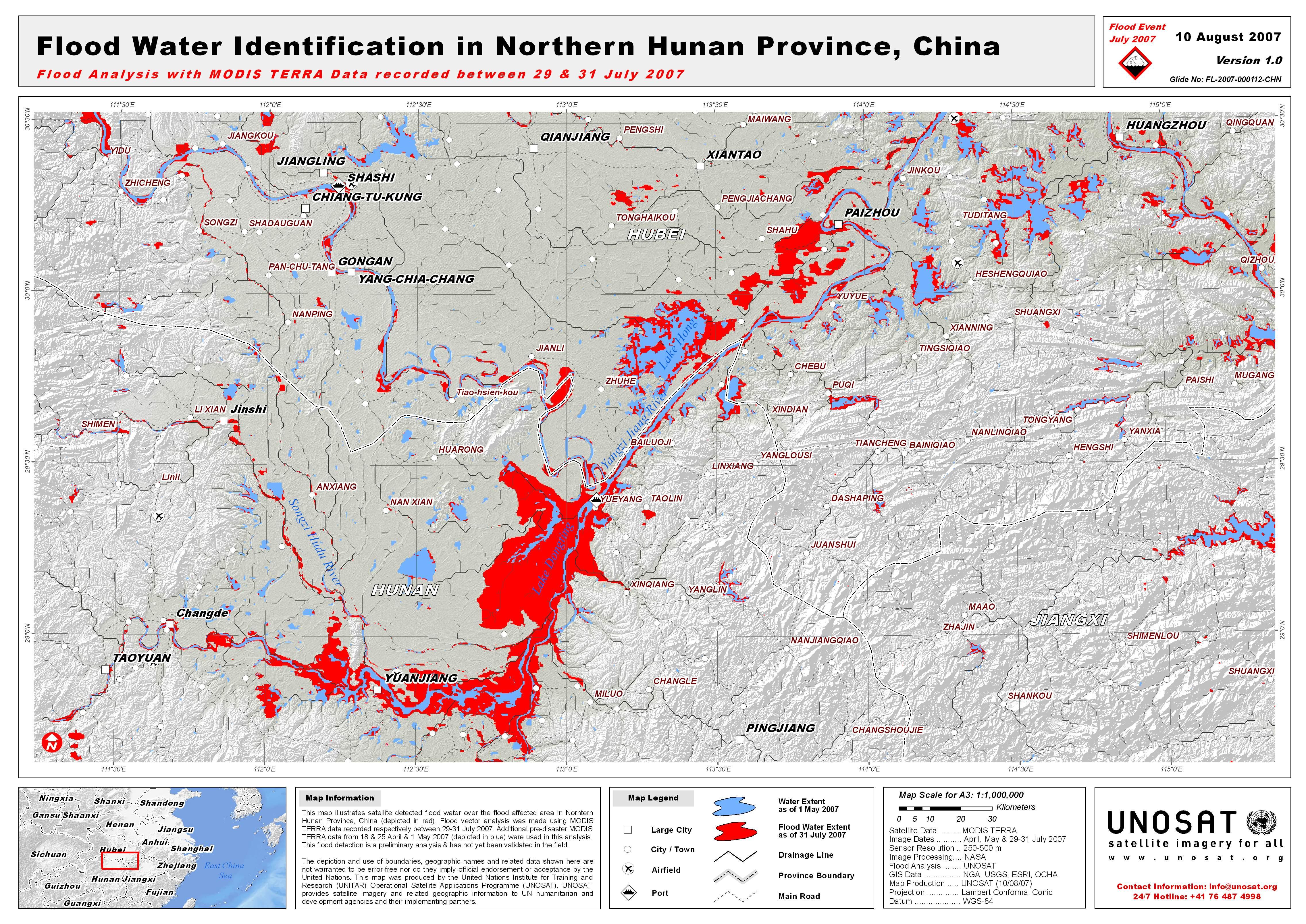 Hunan Province China Map.Flood Water Identification In Hunan Province China Unitar
