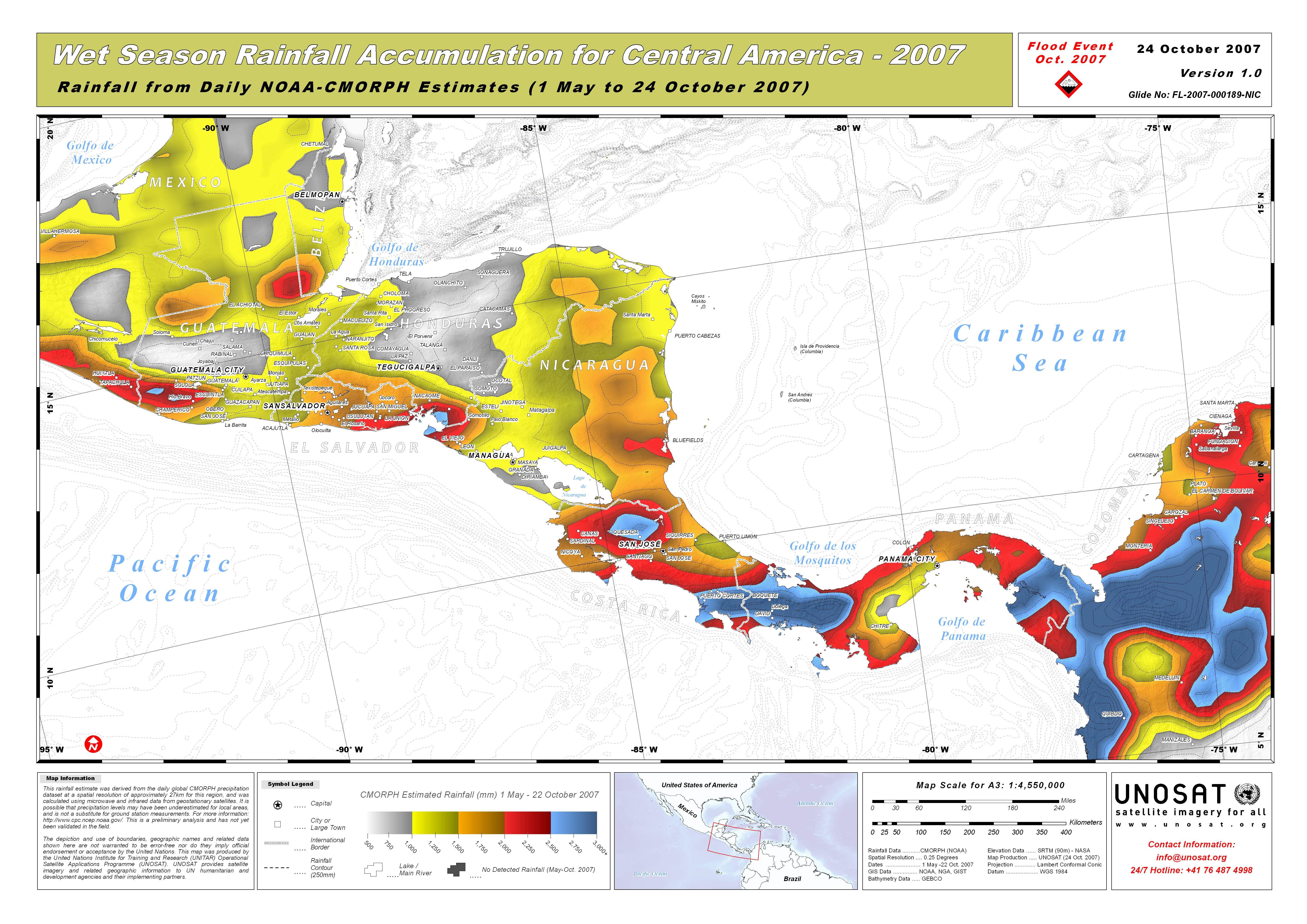 Wet Season Rainfall Accumulation For Central America UNITAR - United states precipitation map