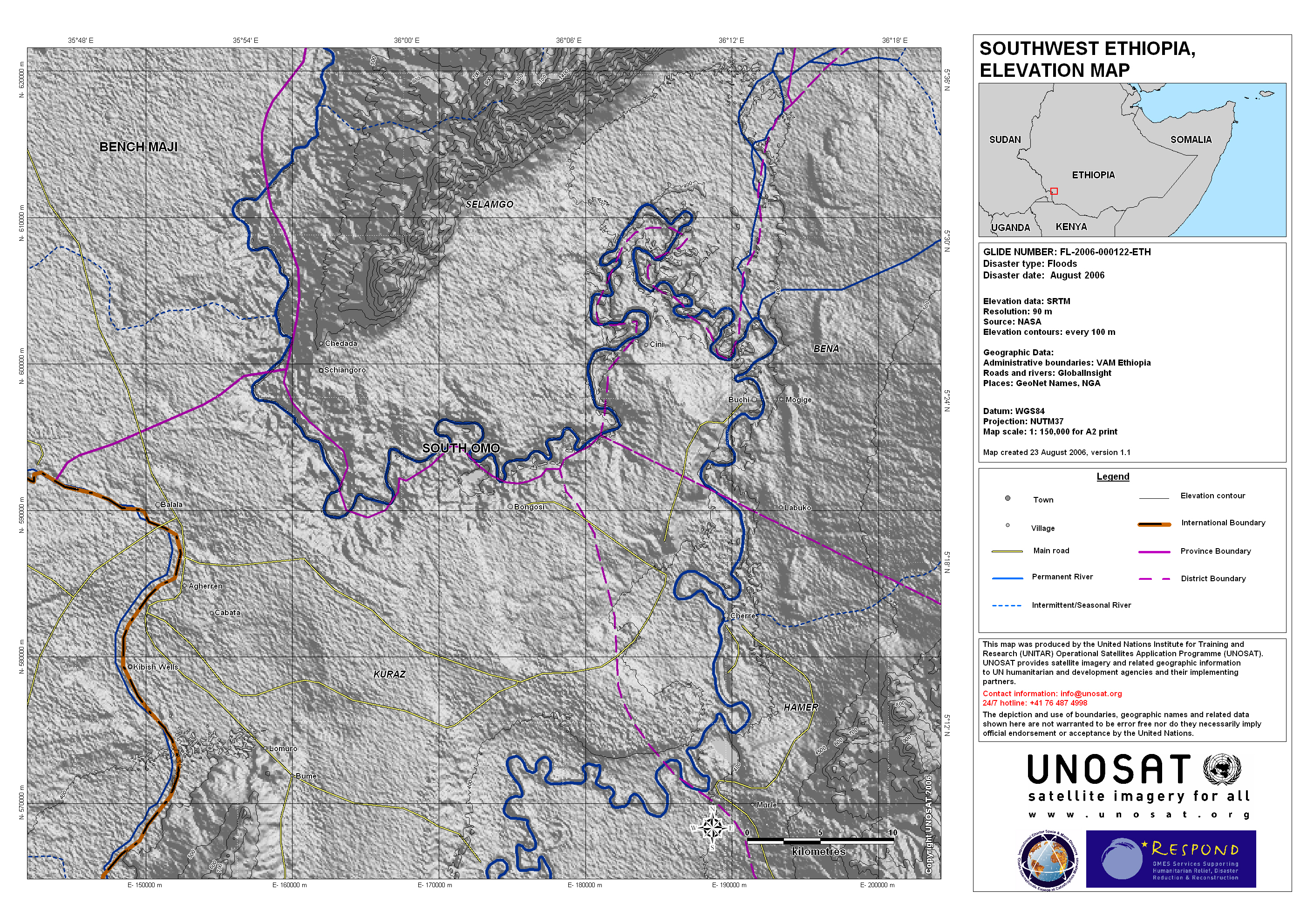 Southwest Ethiopia South Omo Province Elevation Map UNITAR - Florida elevation map