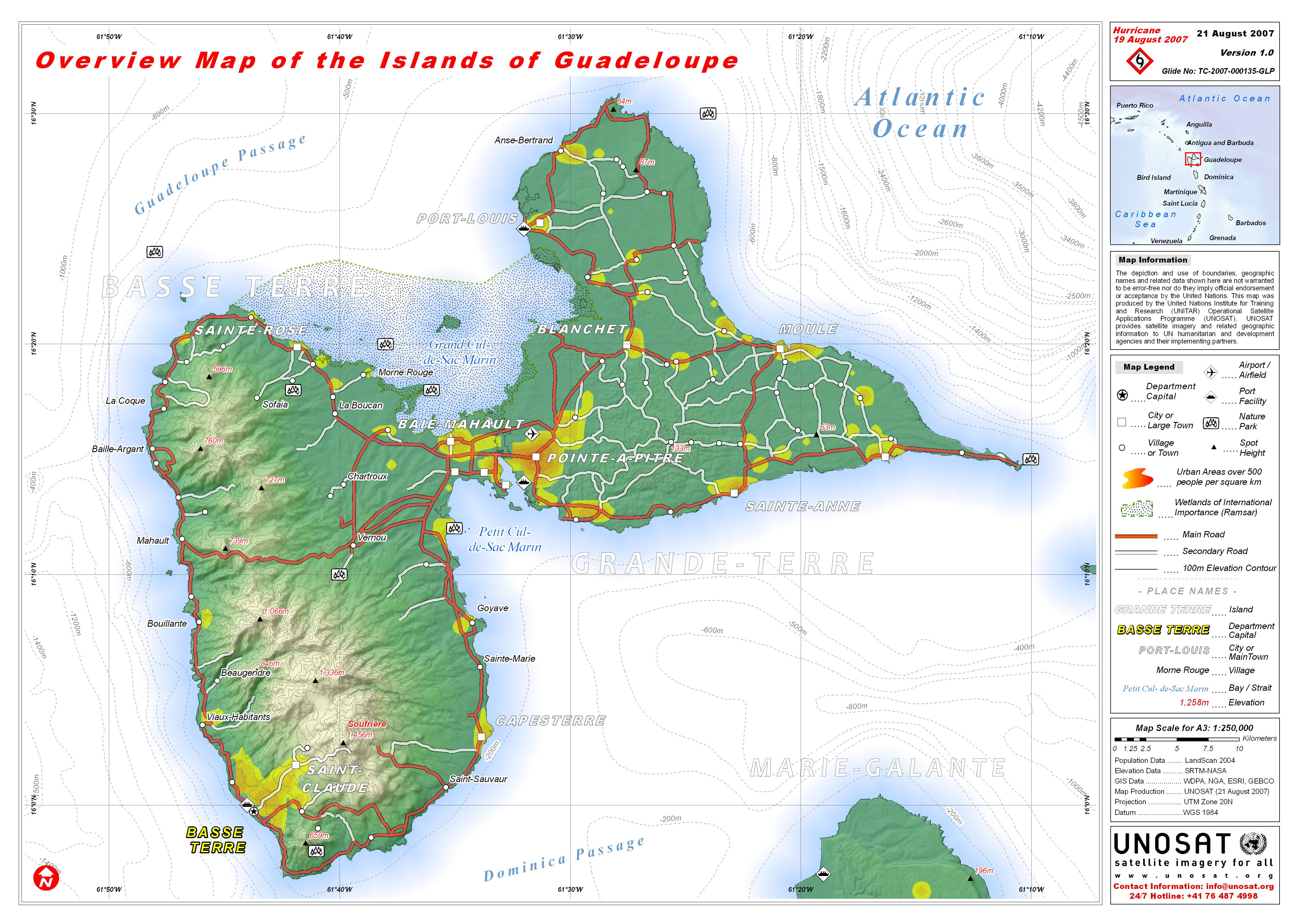 pdf (mb) . overview map of the islands of guadeloupe  unitar