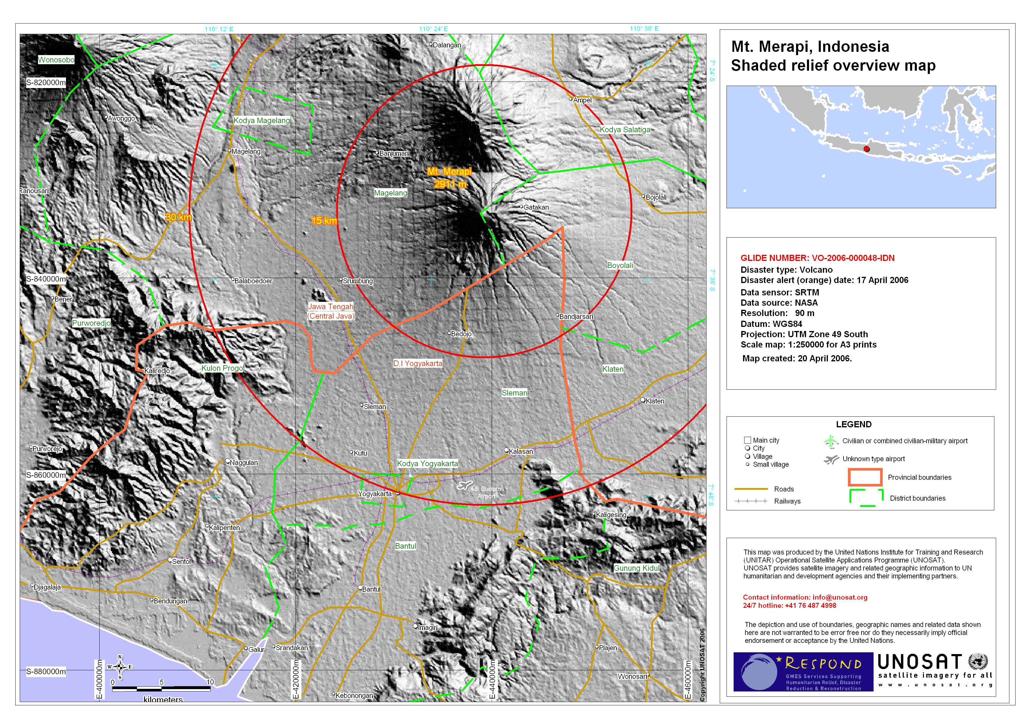 Yogyakarta and Mt. Merapi area topography overview   UNITAR