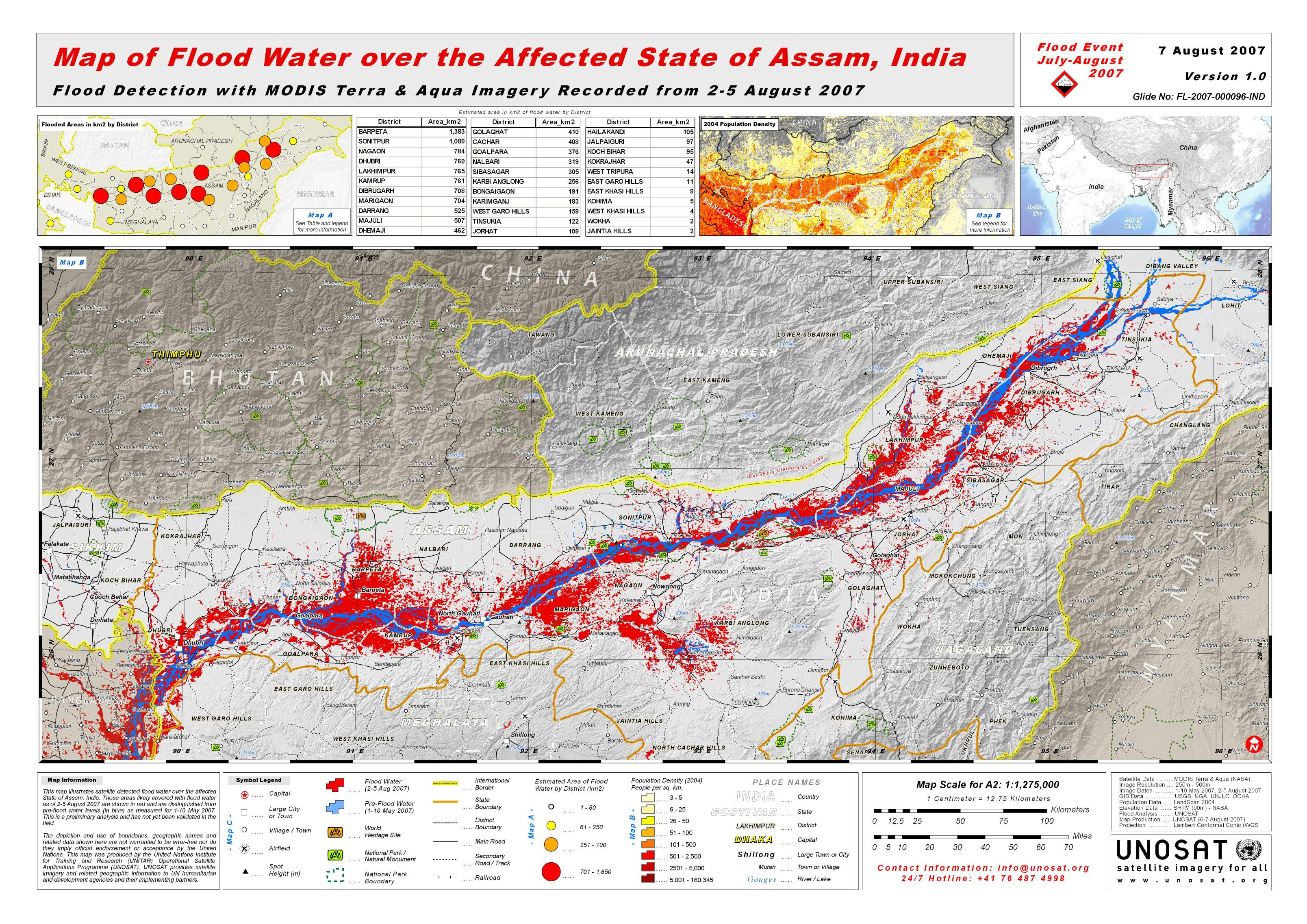 Map of Flood Water over the Affected State of Assam India  UNITAR