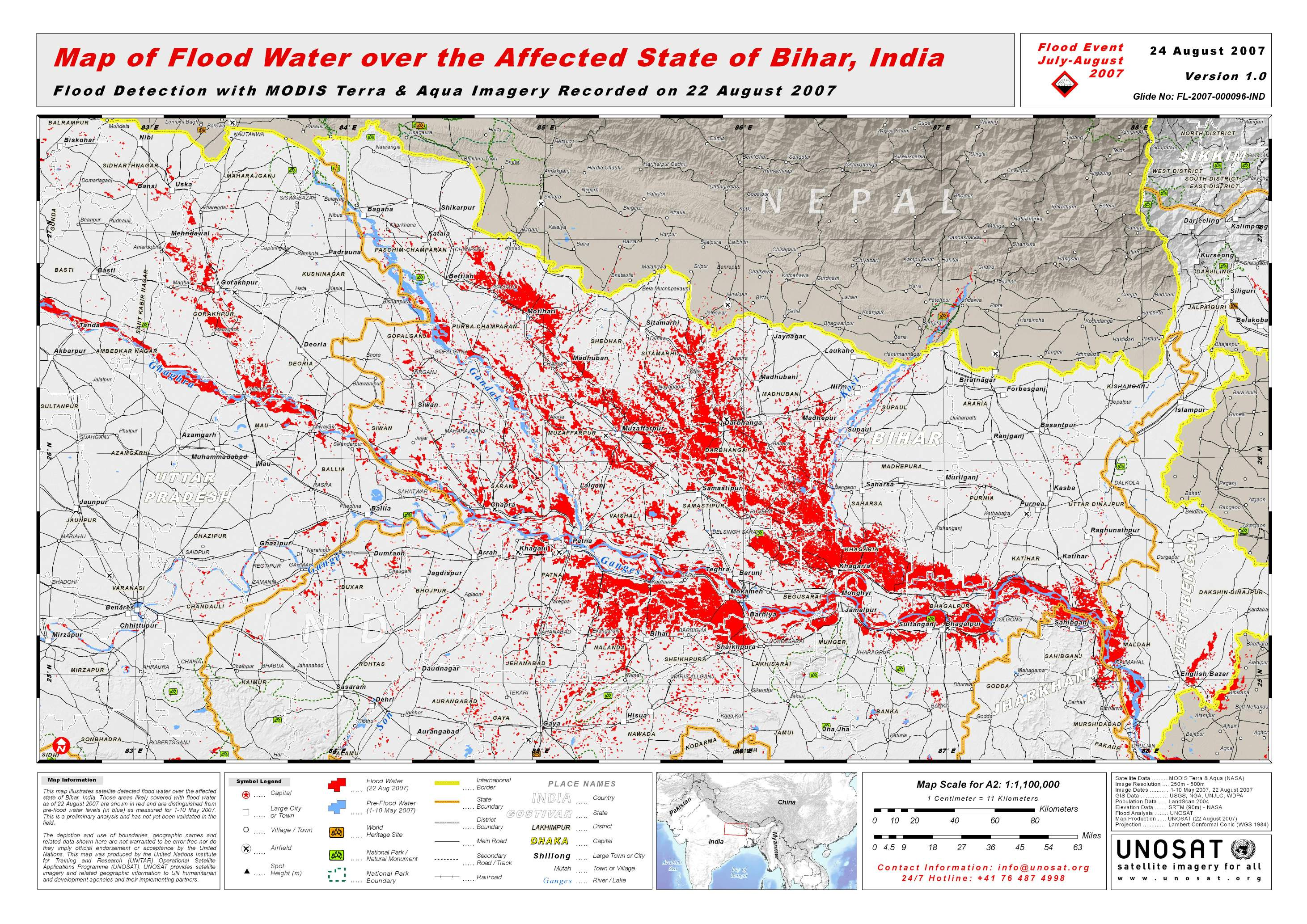 Map Of Flood Water Over The Affected State Of Bihar India Unitar