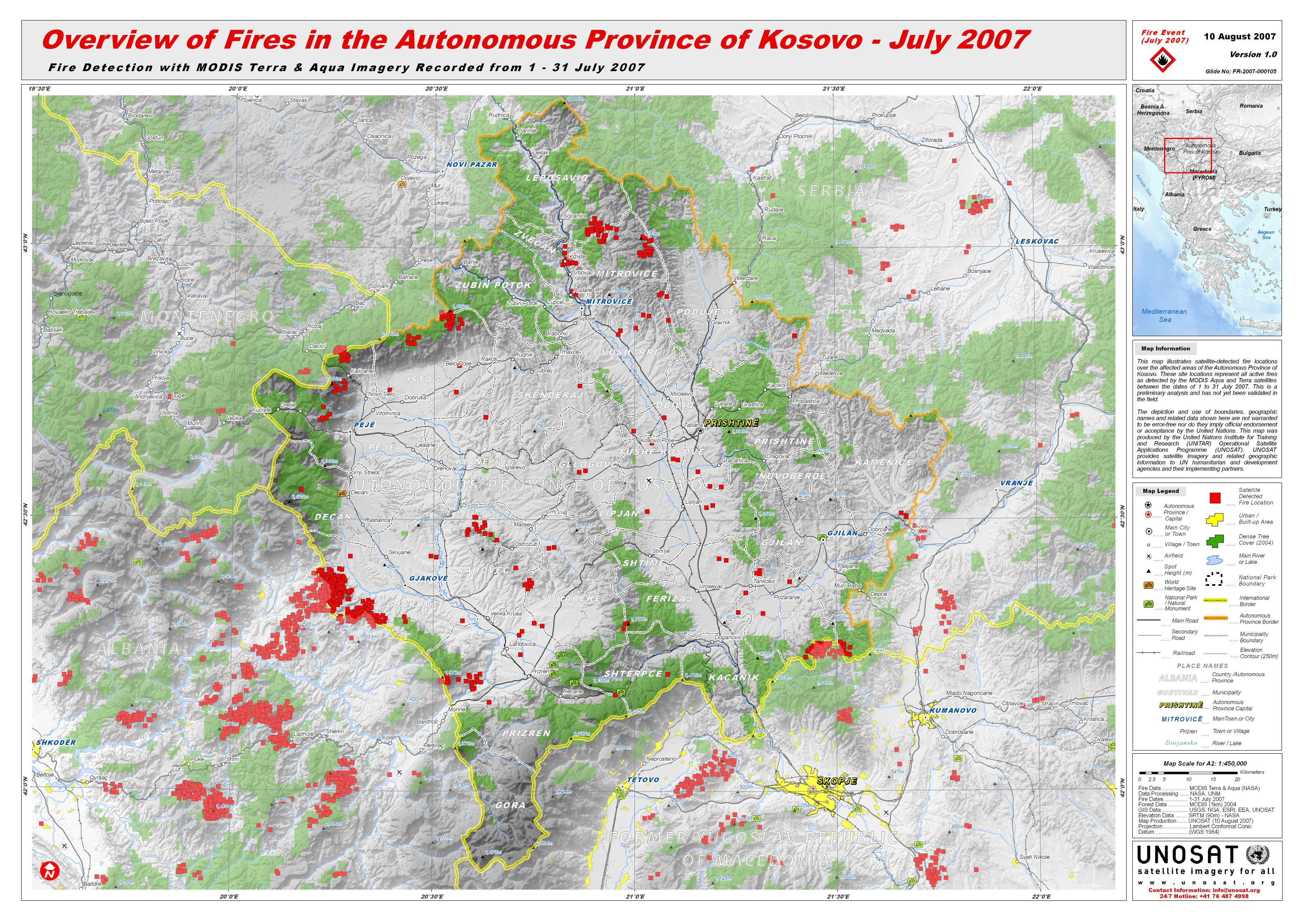 Overview Of Fires In The Autonomous Province Of Kosovo July - Kosovo map hd pdf