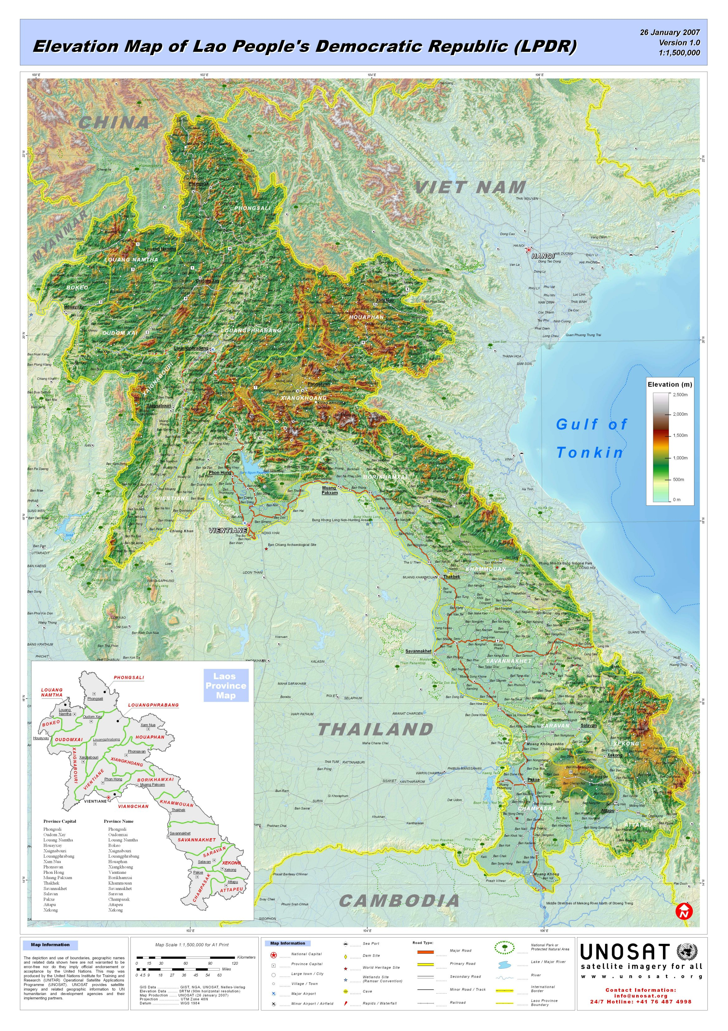 Elevation Map of Lao People´s Democratic Republic (LPDR) | UNITAR