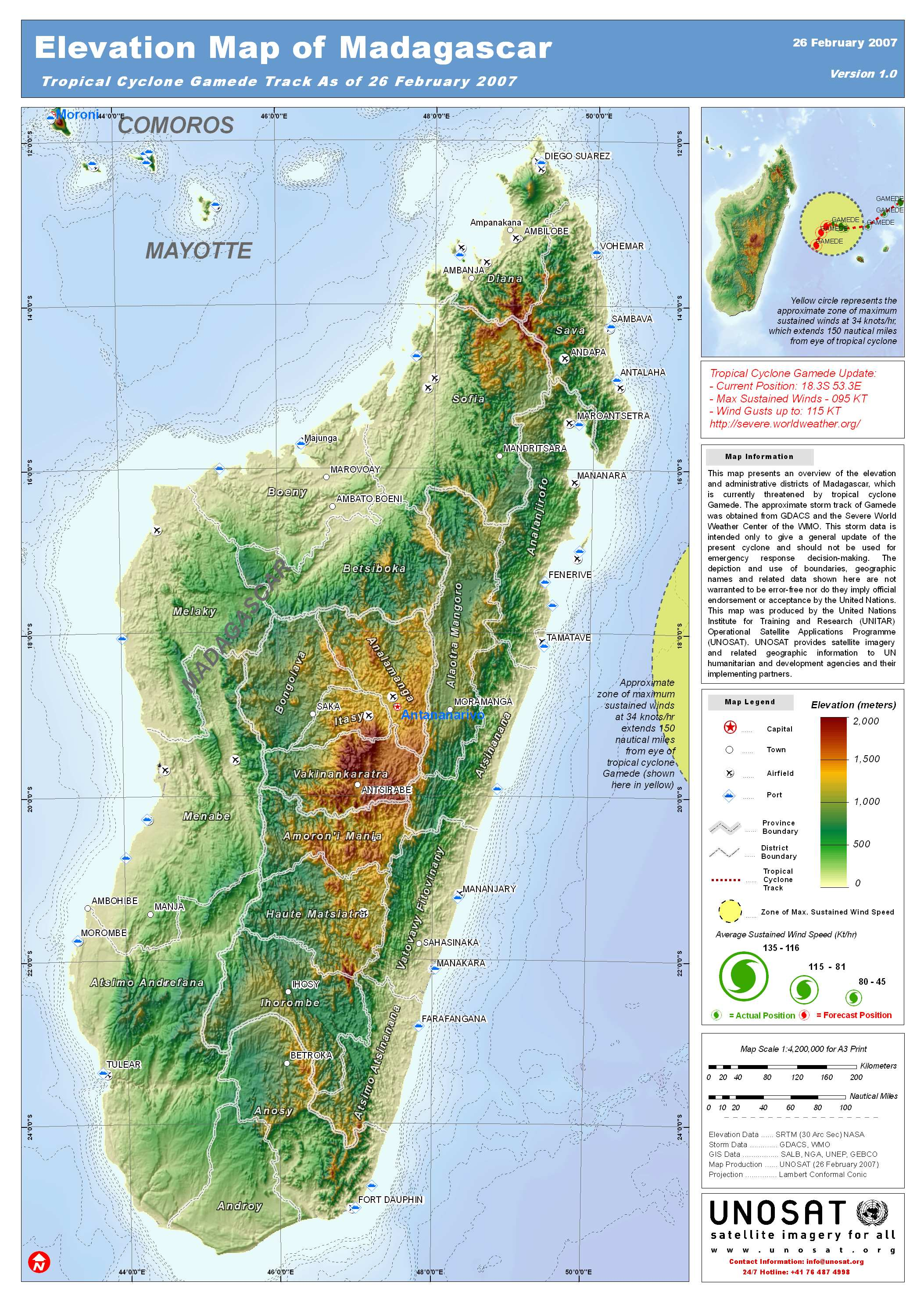 Elevation Map of Madagascar UNITAR