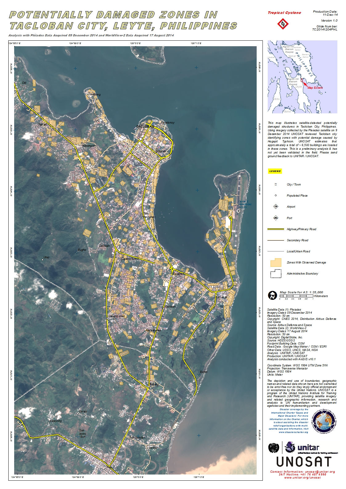 Tacloban Philippines Map.Potentially Damaged Zones In Tacloban City Leyte Philippines Unitar