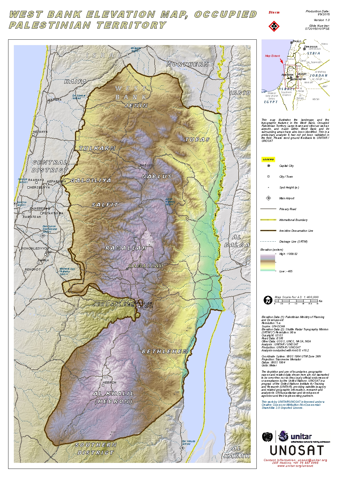 West Bank Elevation Map Occupied Palestinian Territory Unitar