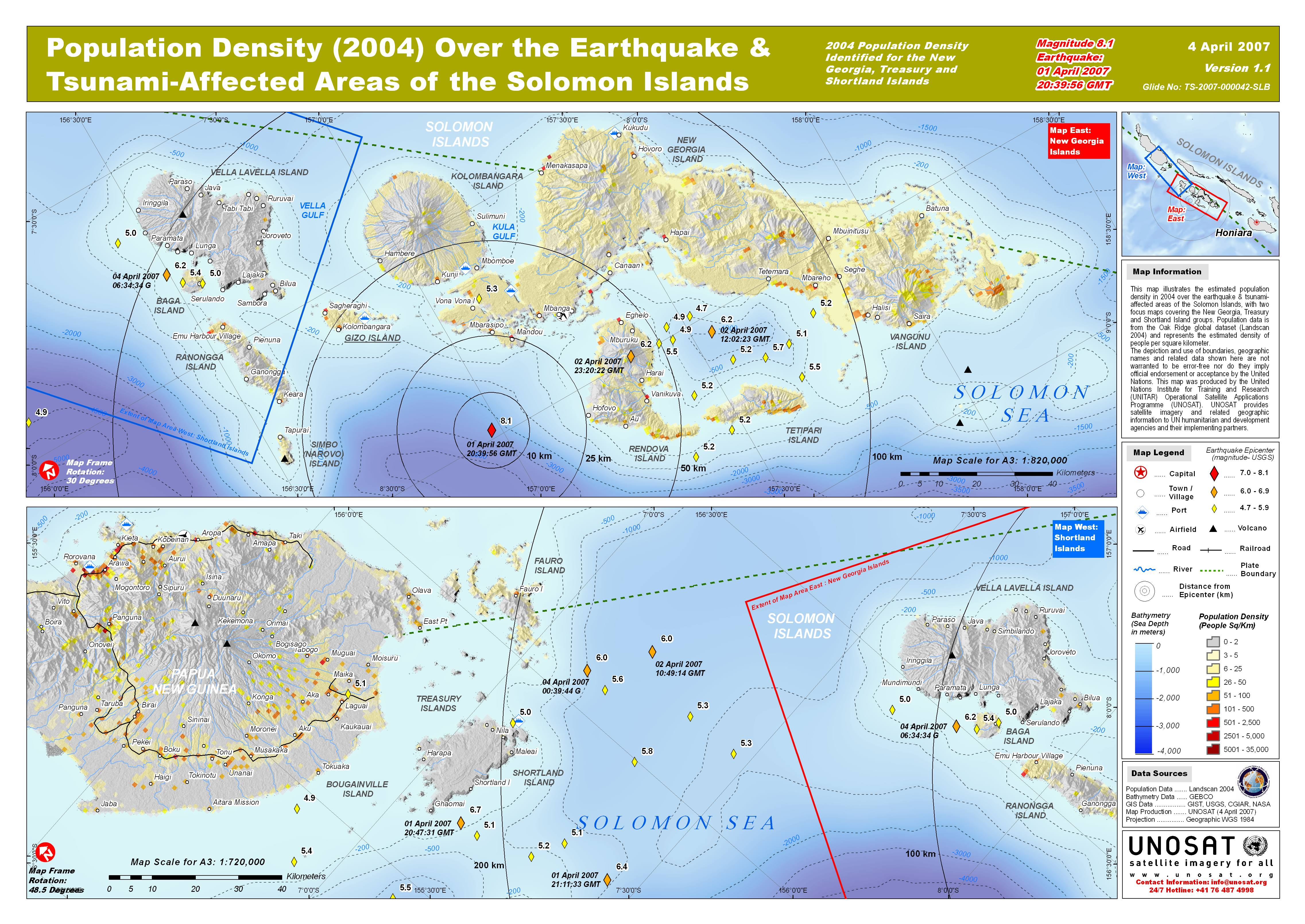 Population Density 2004 Over The Earthquake Tsunami