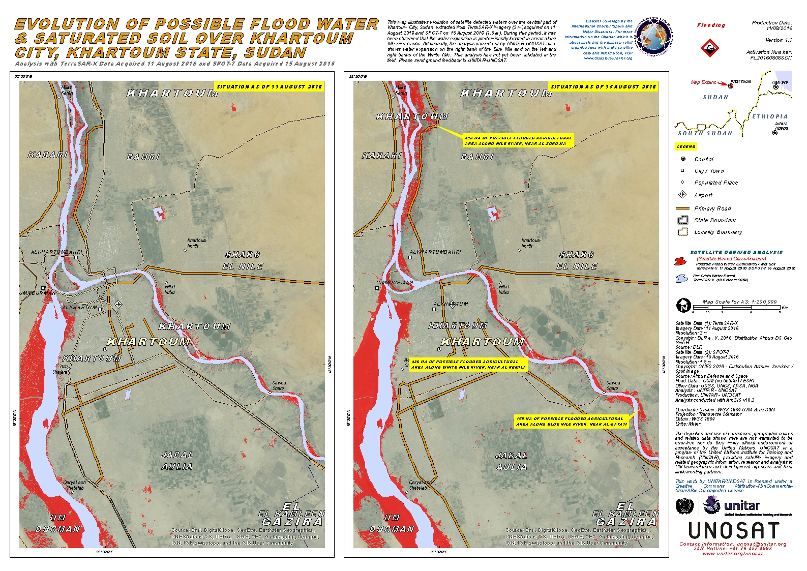 Evolution of Possible Flood Water Saturated Soil Over Khartoum