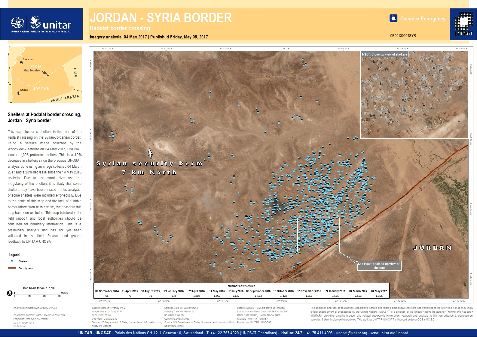 Shelters At Hadalat Border Crossing Jordan Syria Border UNITAR - Where is jordan located