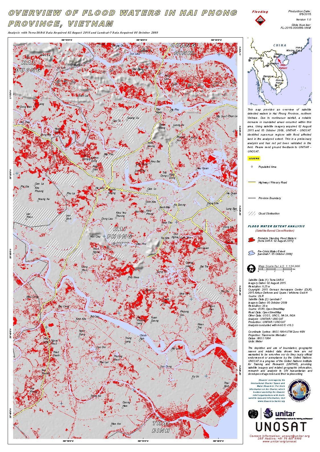 Haiphong Vietnam Map.Overview Of Flood Waters In Hai Phong Province Vietnam Unitar