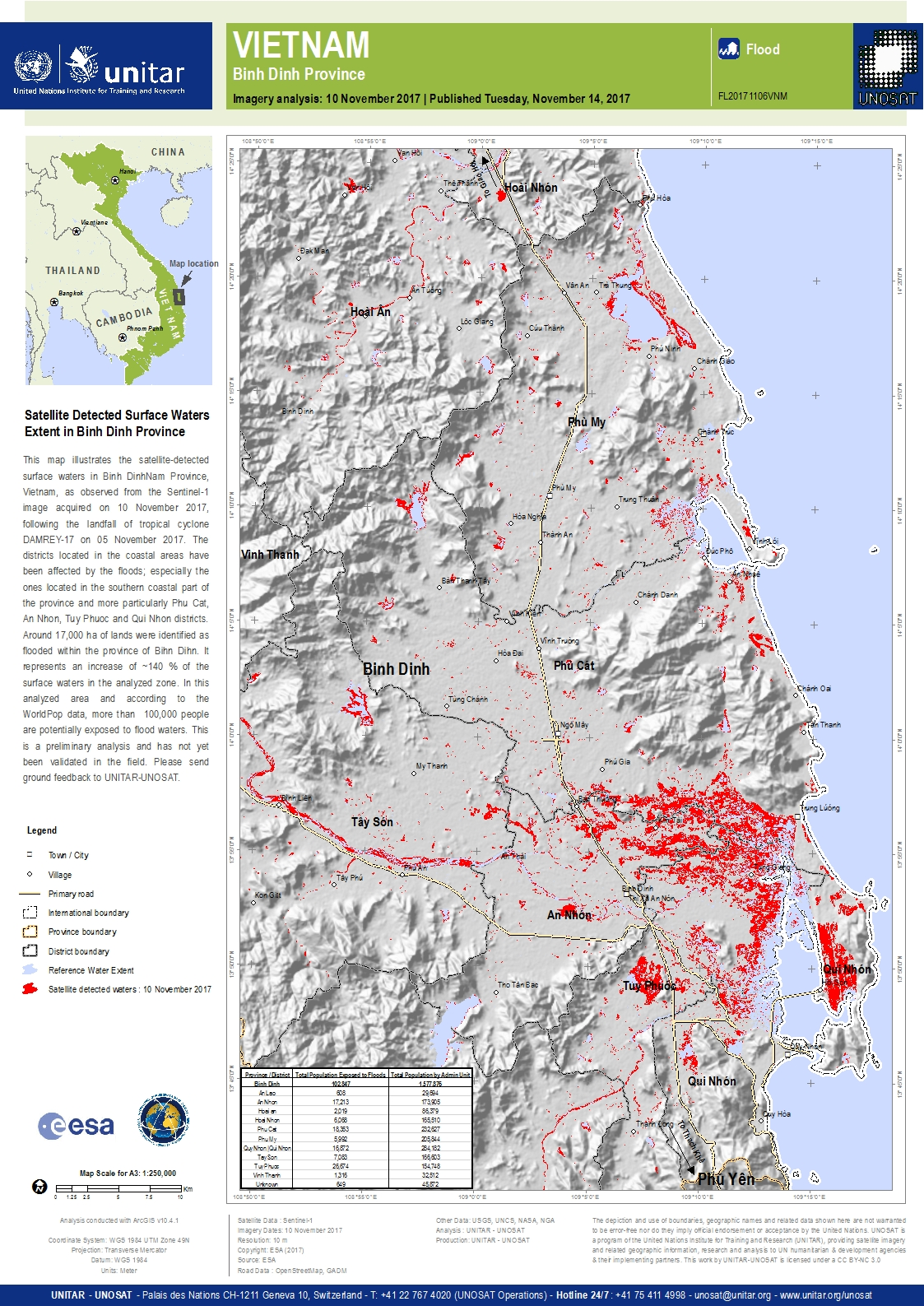 Satellite Detected Surface Waters Extent in Binh Dinh Province UNITAR
